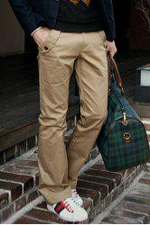Casual Style Solid Color Zipper Fly Pocket Embellished Straight Leg Men's Cotton Long Pants - KHAKI