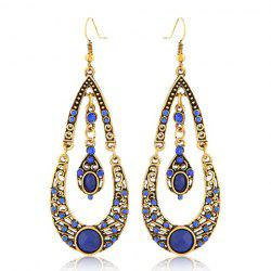 Pair of Bohemian Water Drop Rhinestone Pendant Earrings - RANDOM COLOR PATTERN