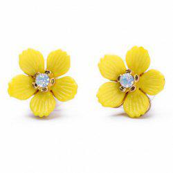 Pair of Delicate Rhinestone Embellished Candy Color Rape Flower Shape Stud Earrings For Women -