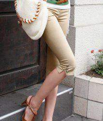 Fashion Button Design Solid Color Women's Fifth Pants - KHAKI
