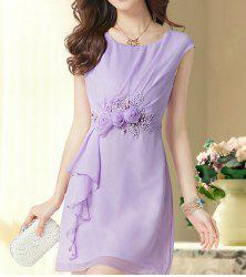 Elegant Scoop Neck Flower Embellished Ruffled Sleeveless Chiffon Dress For Women