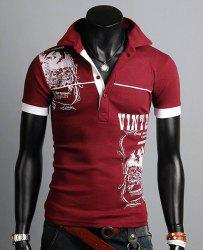 Turn-down Collar Totem Print Polo Shirt - WINE RED M