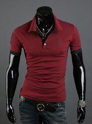 Fashion Style Turn-down Collar Slimming Solid Color Animal Print Short Sleeves Men's Polyester Polo Shirt