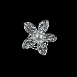 Cute Rhinestone Flower Hairpin For Bride - AS THE PICTURE