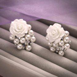 Pair of Fashion Rhinestone Pearl Flower Earrings For Bride