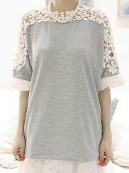 Stylish Jewel Neck Guipure Flared Sleeve Bow Embellished T-Shirt For Women