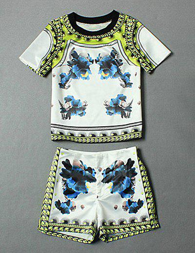 Trendy Vintage Blue And White Porcelain Print Round Neck Short Sleeves T-Shirt And Hot Shorts Women's Twinset