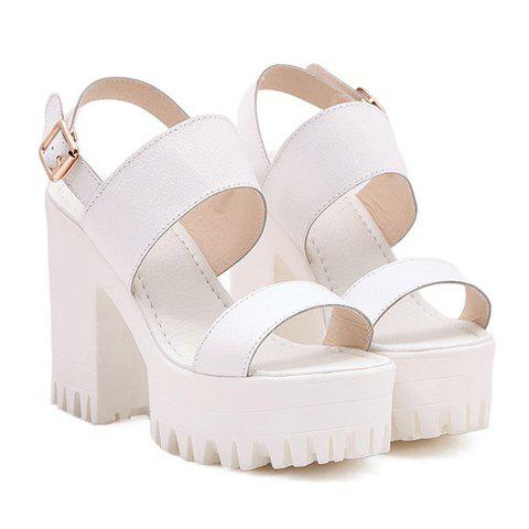 Latest Street Style Chunky Heel and Solid Color Design Women's Sandals