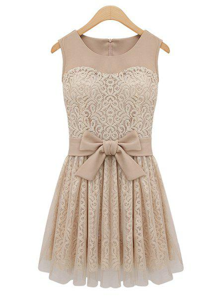 Store High-Waisted Sleeveless Round Collar Lace Splicing Women's Dress
