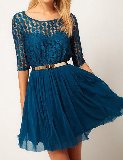 Buy Stylish Scoop Neck 1/2 Sleeve Solid Color With Belt Chiffon Women's Dress