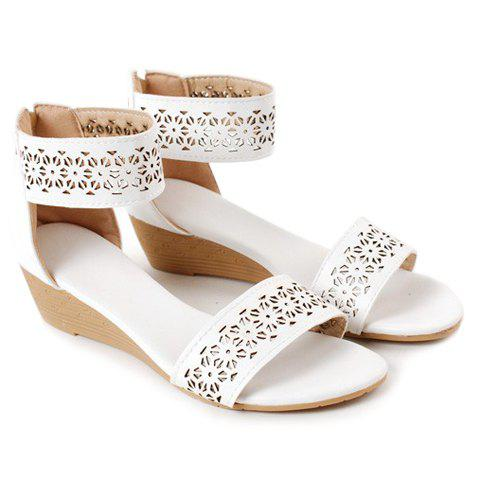 Discount Retro Style Openwork and Solid Color Design Women's Sandals