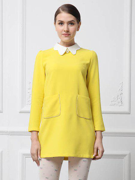 Chic Simple Design Peter Pan Collar Pockets Embellished Long Sleeve Cotton Blend Women's Dress