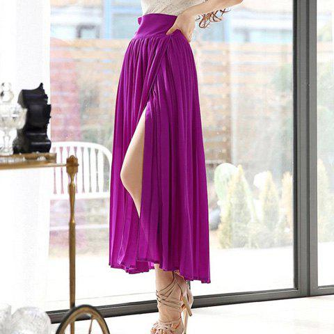 Store Stylish Lace-Up Solid Color High Furcal Chiffon Women's Skirt