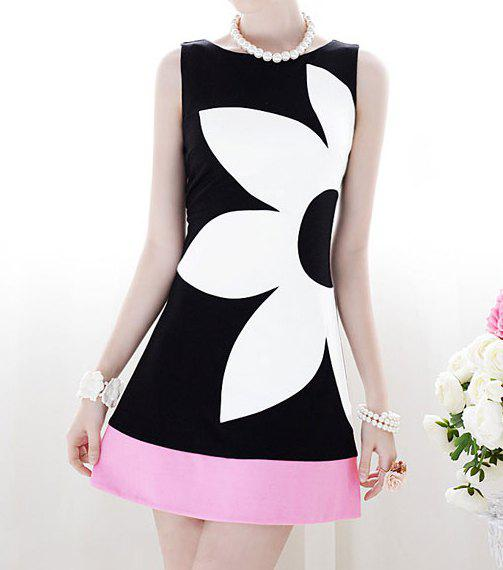 Fancy Floral Pattern Grace Scoop Neck Color Block Sleeveless Women's Dress