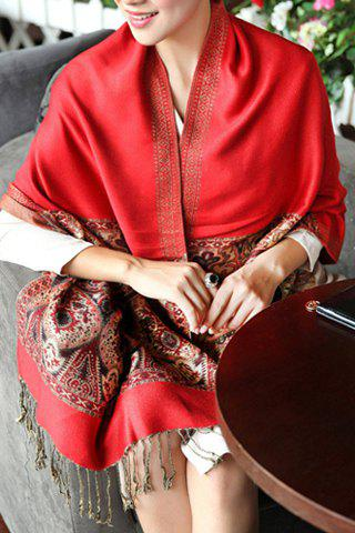 Discount Ethnic Style Heart Print Tassels Pashmina For Women