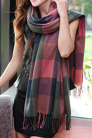 Discount Ethnic Style Color Block Plaid Tassels Pashmina For Women