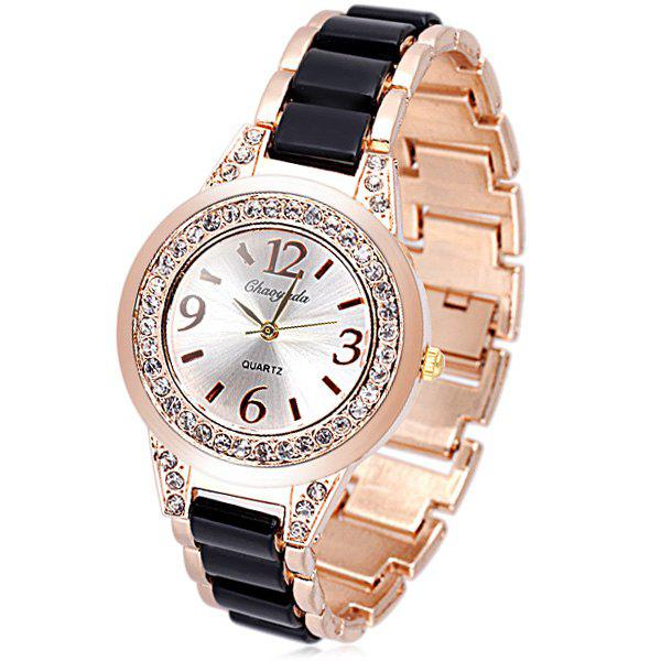 Store Delicate Quartz Watch with Diamonds Analog Indicate Steel Watchband for Women