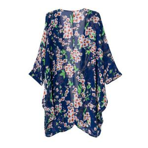 Fashionable Collarless Loose-Fitting Floral Print Long Sleeve Women's Kimono - COLORMIX M