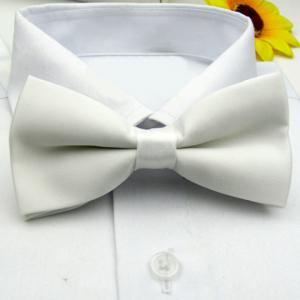 Simple Pure Color Bow Tie For Men - White