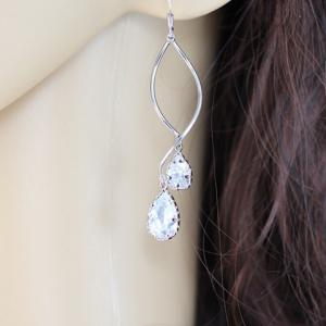Pair of Sweet Waterdrop Faux Crystal Pendant S-Shaped Earrings For Women -