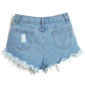 Stylish Bleach Wash Frayed Tassel Denim Shorts For Women -