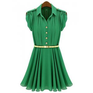 Short Sleeve Turn Down Collar Epaulet Design Chiffon Women's Dress