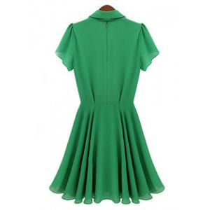 Short Sleeve Turn Down Collar Epaulet Design Chiffon Women's Dress -