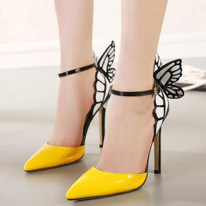 Fashionable Butterfly Wings and Color Block Design Women's Pumps -