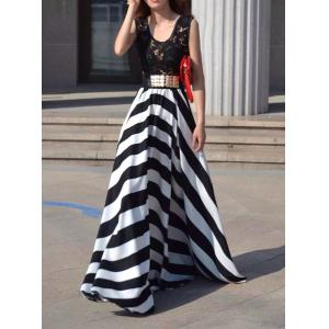 A Line Striped Lace Panel Maxi Prom Dress