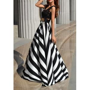A Line Striped Lace Panel Maxi Prom Dress - WHITE AND BLACK L