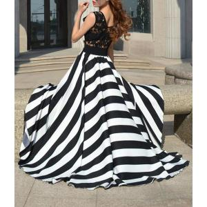A Line Striped Lace Panel Maxi Flowy Prom Dress -