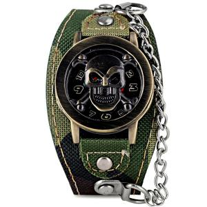 Luxury Flip Skull Head Cover Quartz Wrist Watch with Analog Leather Watchband + Chain for Men -