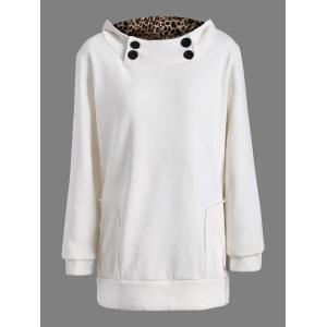 Solid Color Loose Fitting Leopard Print Hoodie For Women