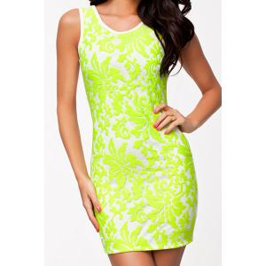 Simple Scoop Neck Sleeveless Bodycon Backless Women's Dress - Neon Green - M