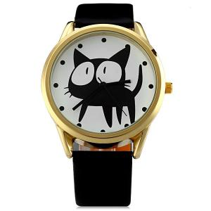JUBAOLI 2108 Quartz Watch 12 Dots Indicate Cat Pattern Circular Dial and Artificial Leather Watchband -