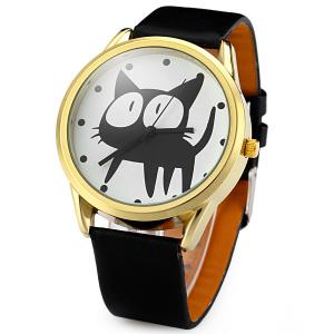 JUBAOLI 2108 Quartz Watch 12 Dots Indicate Cat Pattern Circular Dial and Artificial Leather Watchband - Black