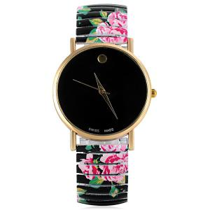 Swiss Quartz Watch with Pointer Display Simply Round Dial Elastic Watchband for Women -