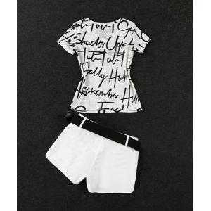 Stylish V-Neck Openwork T-Shirt and Shorts Suit For Women -