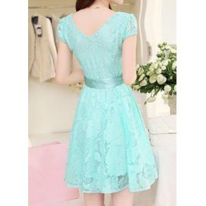 Elegant V-Neck Short Sleeve Openwork Lace Dress For Women -