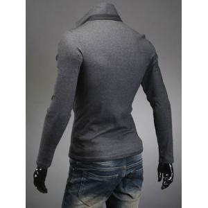 Slimming Trendy Turn-down Collar Color Splicing Pocket Embellished Long Sleeves Men's Cotton Blend Polo T-Shirt - DEEP GRAY L
