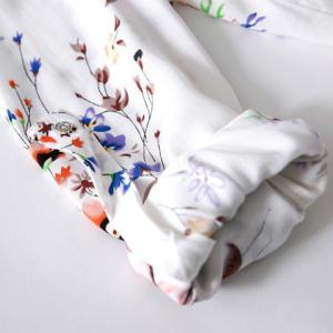 Fashionable V-Neck Floral Print Long Sleeve Women's Blouse - WHITE M