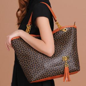 Trendy Tassels and Chain Design Women's Tote Bag -