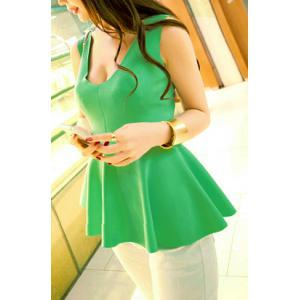 Sexy U Neck Narrow Waist Ruffles Women's Tank Top - Light Green - One Size
