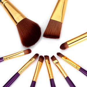 9PCS High-end Dresser Basic Brush Collection Cosmetic Blush Brush Smokey Eyeliner Brush Make-up Tool Set - DEEP PURPLE