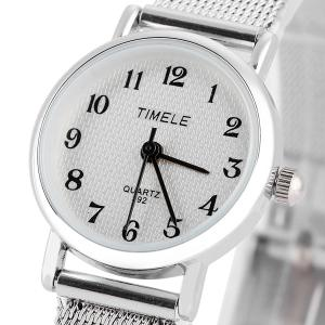Timele 392 Quartz Arabic Numerals Indicate Round Dial Watch with Stainless Steel Watchband for Women -