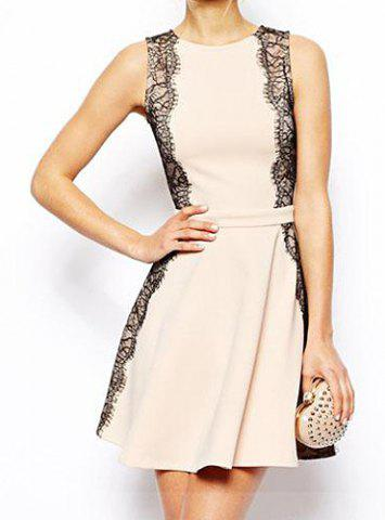 Sale Elegant Jewel Neck Lace Embellished Sleeveless Dress For Women