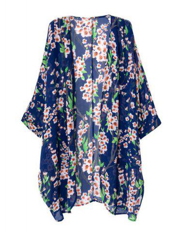 Hot Floral Print Long Sleeve Cardigan Kimono - M COLORMIX Mobile