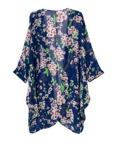 Chic Floral Print Long Sleeve Cardigan Kimono - M COLORMIX Mobile