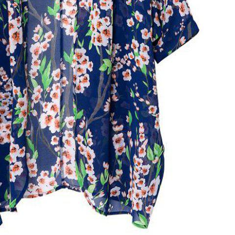 Affordable Floral Print Long Sleeve Cardigan Kimono - M COLORMIX Mobile