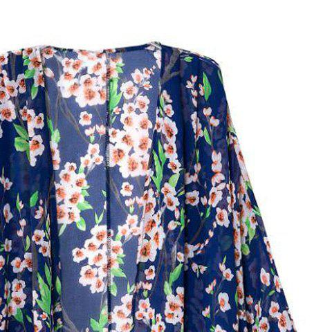 Latest Floral Print Long Sleeve Cardigan Kimono - M COLORMIX Mobile